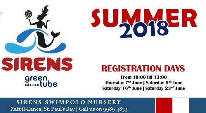 SIRENS SWIMPOLO NURSERY SUMMER 2018 REGISTRATION